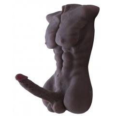 Mannelijke Torso Love Doll 3D Realistische Seksspeeltje pop met grote dildo - zwart